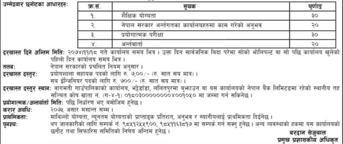 Vacancy notice from Bagmati Gaupalika, Lalitpur
