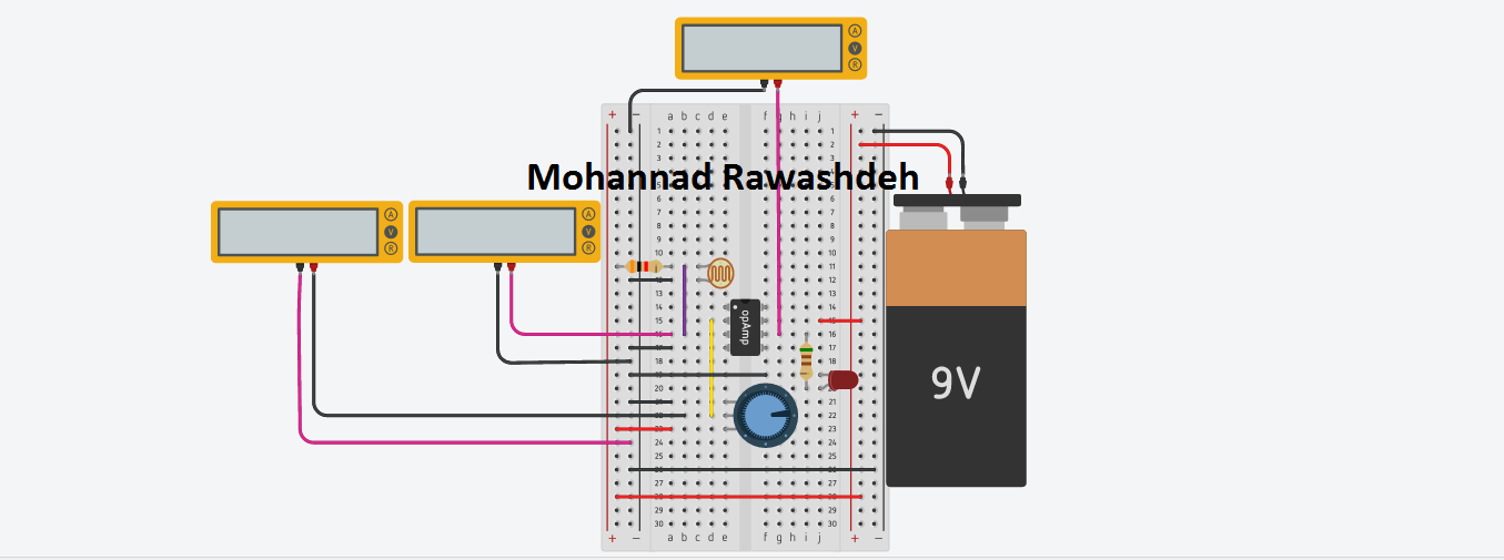 Operational Amplifier 741 with LDR light comparator circuit - M.B Raw