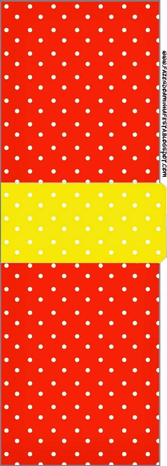 Etiqueta Tic Tac para Imprimir Gratis de Rojo, Amarillo y Lunares Blancos.