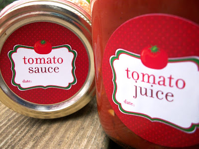 tomato juice canning label