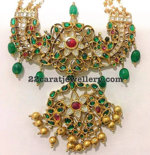Emerald Stones and Drops Patakam Pendant
