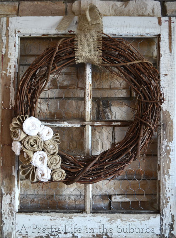 DIY Grapevine & Burlap Wreath