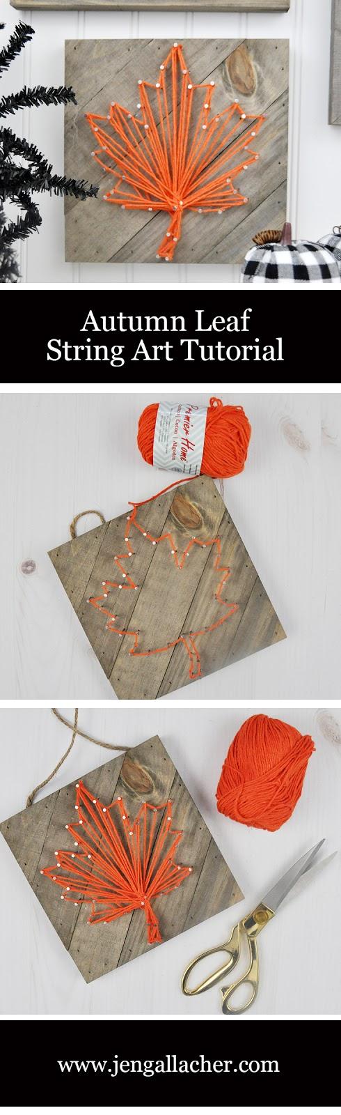Fall String Art Frame tutorial by Jen Gallacher for Jillibean Soup. #stringart #jillibeansoup #jengallacher #autumncraft #fallstringart