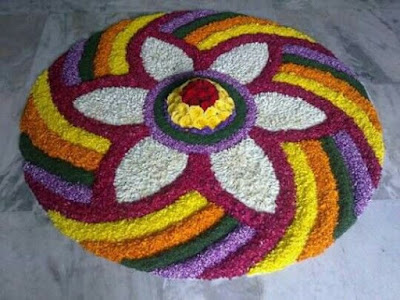 rangoli with flower petals