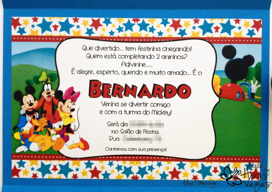 Ateliê Das Horas Vagas Aline Barbosa Convite Artesanal Casa Do Mickey