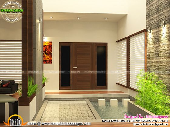 Kerala Home Front Elevation Design : Open kitchen living skylight area interior kerala home