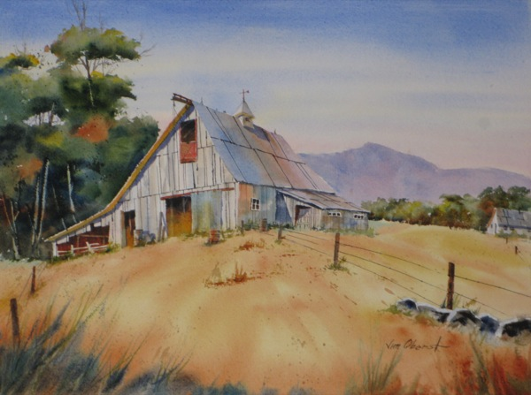 Watercolors By Jim Oberst Blog  Hilltop Barn