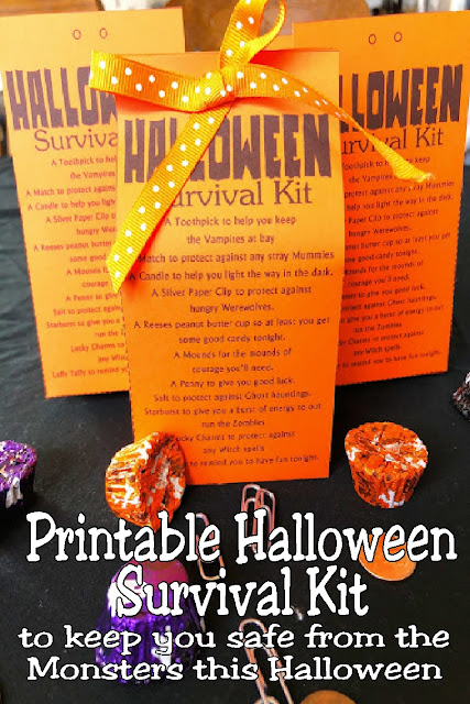 Stay safe this Halloween from all the Zombies, Vampires, and Ghosts out there with a printable Halloween survival kit. This Halloween printable is a great Halloween treat for your kids or friends and will keep them smiling all night long. #halloweenprintable #halloweenparty #survivalkit #diypartymomblog