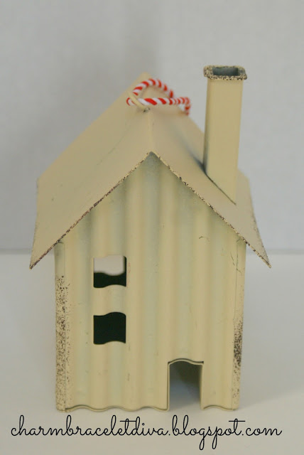 tin house Christmas ornament