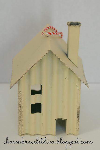 tin house Christmas ornament