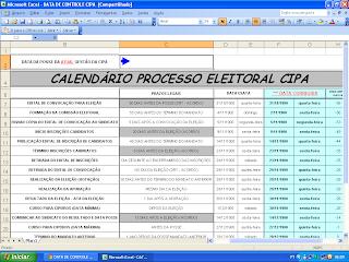 Cronograma de processo eleitoral CIPA