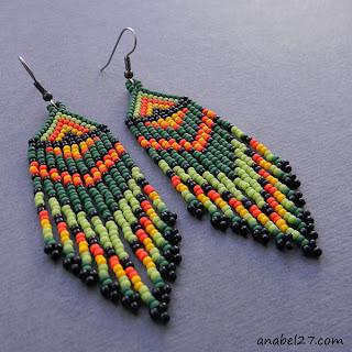 купить зеленые серьги из бисера в стиле хиппи подарок девушке жене