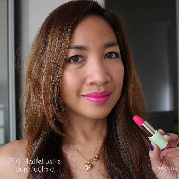 pixi mattelustre lipstick review, swatch, pure fuchsia
