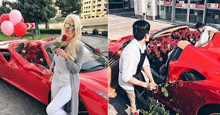 Σύζυγος έκανε δώρο στην γυναίκα του μια Ferrari γεμάτη με 1.000 τριαντάφυλλα