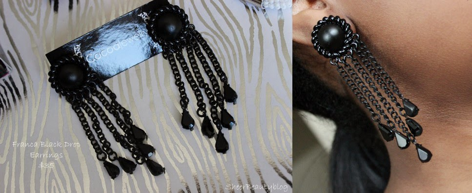 picture of black drop earrings from Cocoa Jewelry