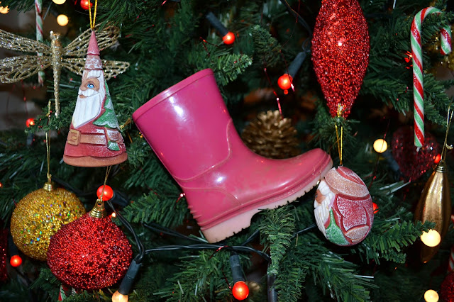 Boot in a Christmas tree