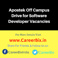 Apostek Off Campus Drive for Software Developer Vacancies