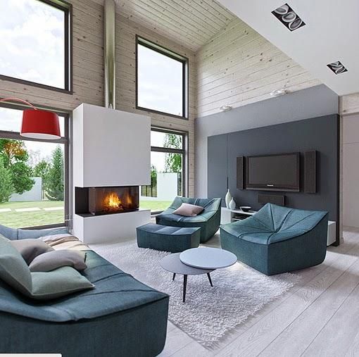 Living in designland interiores interior de madera for Salone casa moderna