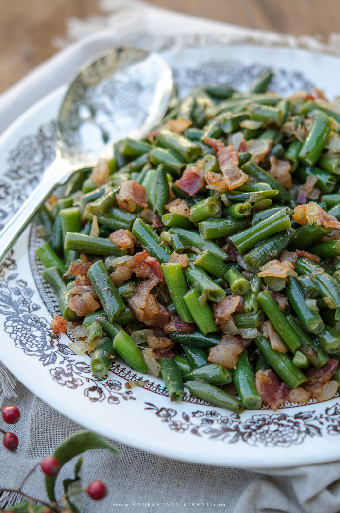 White plate with Bacon Green Beans