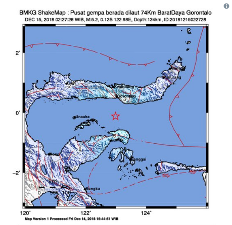 Gempa Magnetudo 5,2 Guncang Gorontalo Pukul 02.27 WIB, Masyarakat Dihimbau Tetap Tenang