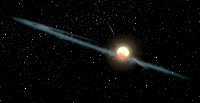A hypothetical view of the enigma known as Tabby's Star, which dims and brightens in irregular ways that astronomers are still trying to understand. Current models envision the star surrounded by a lumpy ring of dust that lies in our line of sight to it. The star may also have several comets, which is consistent with studies finding evidence for cometary activity within the system. Credit: NASA/JPL-Caltech