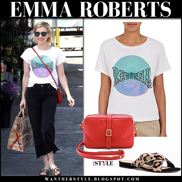 Emma Roberts in white Revival print tee, black jeans and leopard sandals kate spade august 31 2017