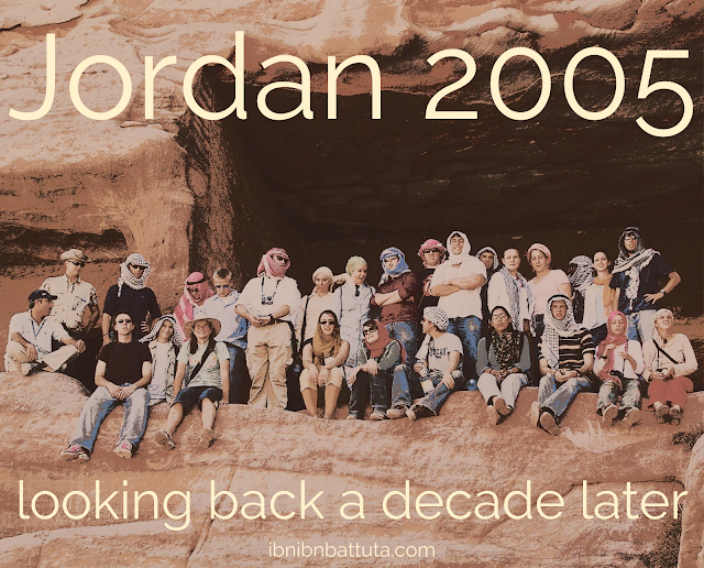 Petra, Jordan, September 2005. Standing (left to right): Rob Lowell, Ian Lee, Matthew Southard, Andrew Farrand, Ben Jones, Emily Antoon, Jessica Ehresman, Mike Myers, Tom Hojem, Taylor Luck, Hayden Weiler, DeAnna Arabaty, Julia Robbins, Austin Branion, Lauren Gentry, Ryan Lospaluto. Seated (left to right): tour guide, Andrus Ashoo, Craig Hansen, Kristen Nivling, Lindsey Stephenson, Lindsay Zoeller, David MacDonald, Mariam Banahi, Sami Jarrah, Molly Langer, Emily Wright. Not pictured: organizer Sally Shalabi, Morgan Nilsen.