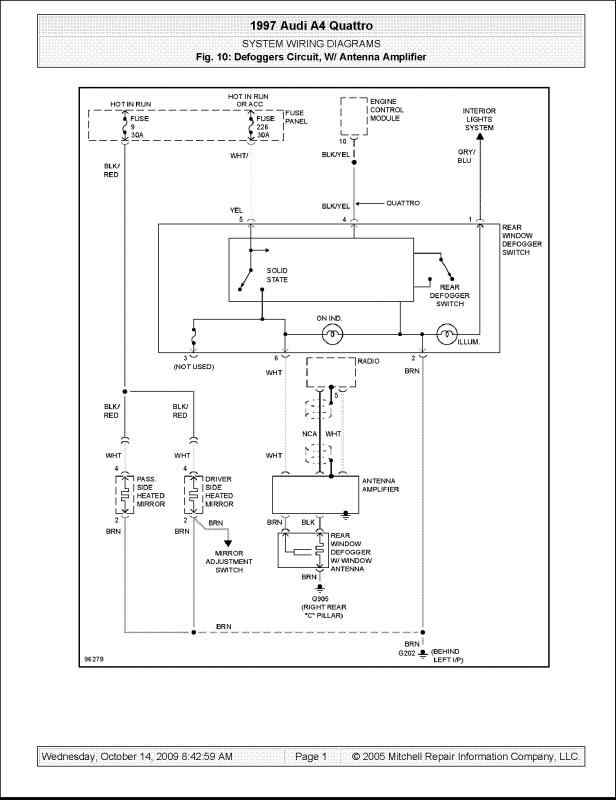 1997 Audi A4 Quattro Defogger Circuit With Antenna Amplifier System Wiring Diagrams