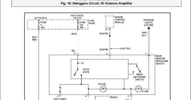 1997 Audi A4 Quattro Defogger Circuit With Antenna Amplifier System Wiring Diagrams | All about