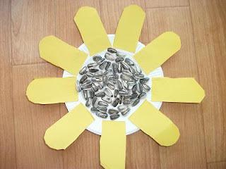 Sunflower Seeds Paper Plate Flower Craft Preschool Crafts For Kids