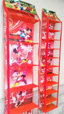 Rak Tas Rak Sepatu Mickey Merah