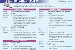 Walk in interview for Biological E for multiple positions on 18 November