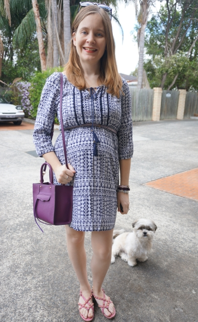 Away From Blue | Jeanswest boho chelsea printed dress second trimester baby bump
