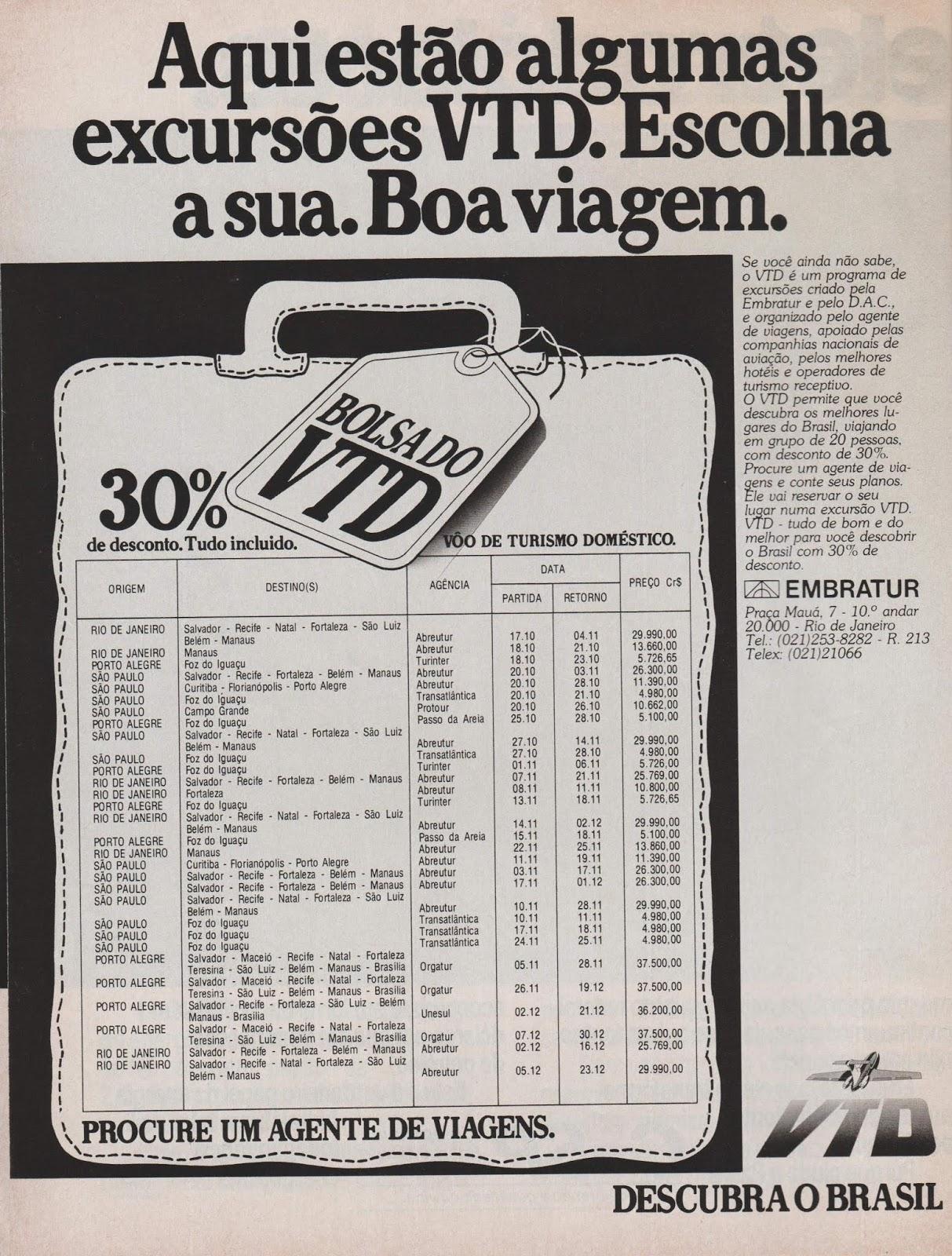 Propaganda de 1979 apresentando o VTD do Ministério do Turismo