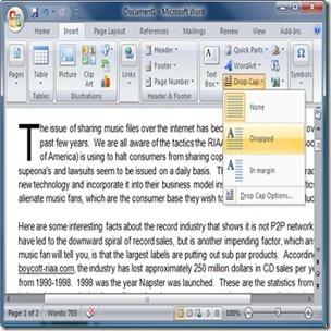 Utilizando o Drop Cap no Word 2007