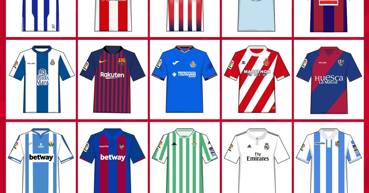 22325e3208 Confira todas as camisas titulares dos clubes do Campeonato Espanhol 2018 19  - Show de Camisas