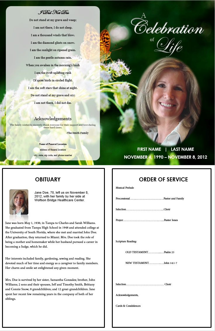 Finder Grave – Funeral Program Example