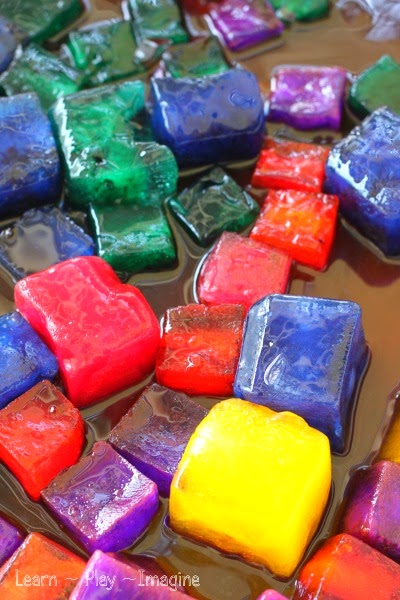 Rainbow ice sensory play