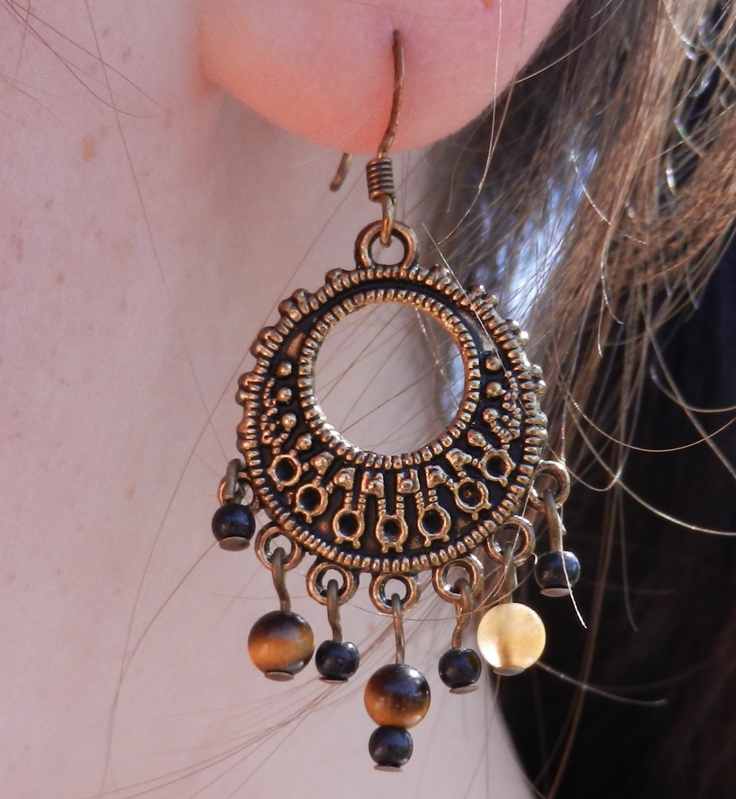 tigereye chandelier earrings
