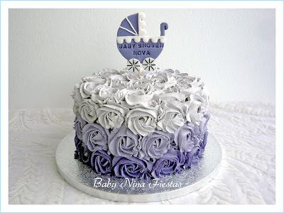 tarta galletas  baby shower lila y blanco