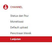 menu channel youtube