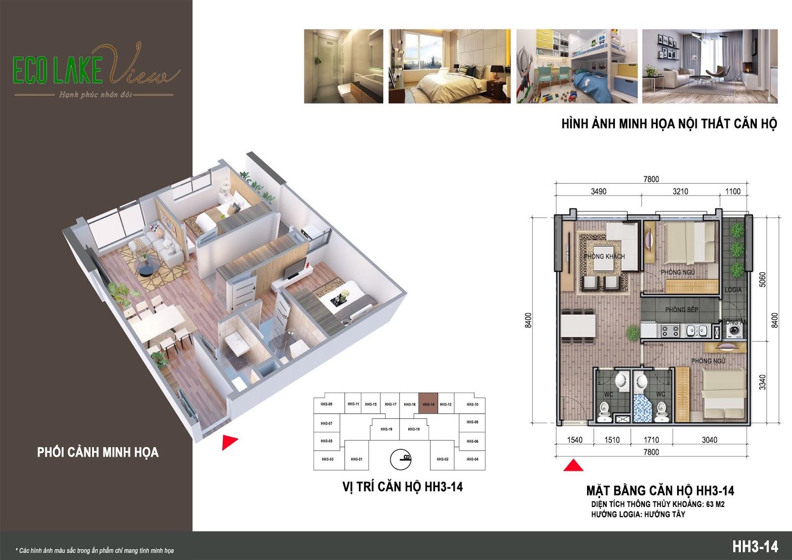 Thiết kế căn hộ 07 tòa HH03 Eco Lake View