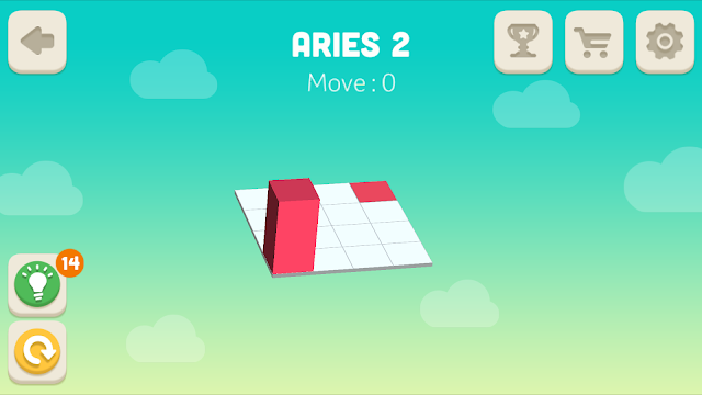 Bloxorz Aries Level 2 step by step 3 stars Walkthrough, Cheats, Solution for android, iphone, ipad and ipod
