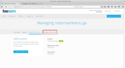 Lalu klik Manage Freenom DNS