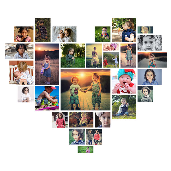 free online photo collage templates - picture editing heart shaped photoshop collage template