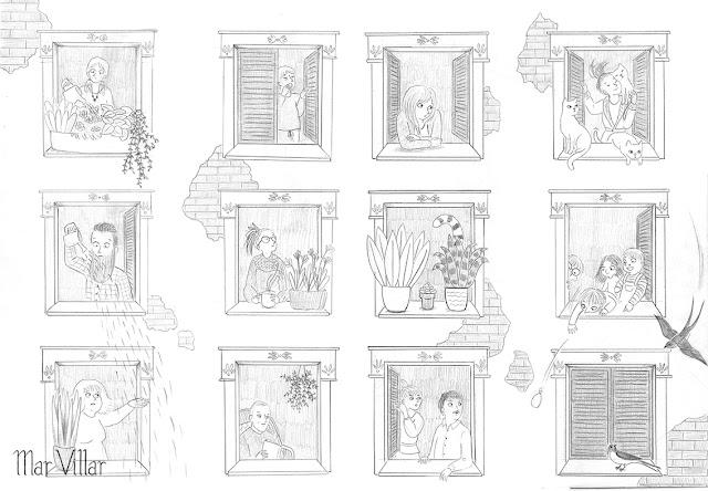 ilustración de vecindario, ilustración, boceto, ventanas, dibujo de ventanas, dibujo de edificio, vecinos, vecinas, Mar Villar, boceto de edificio