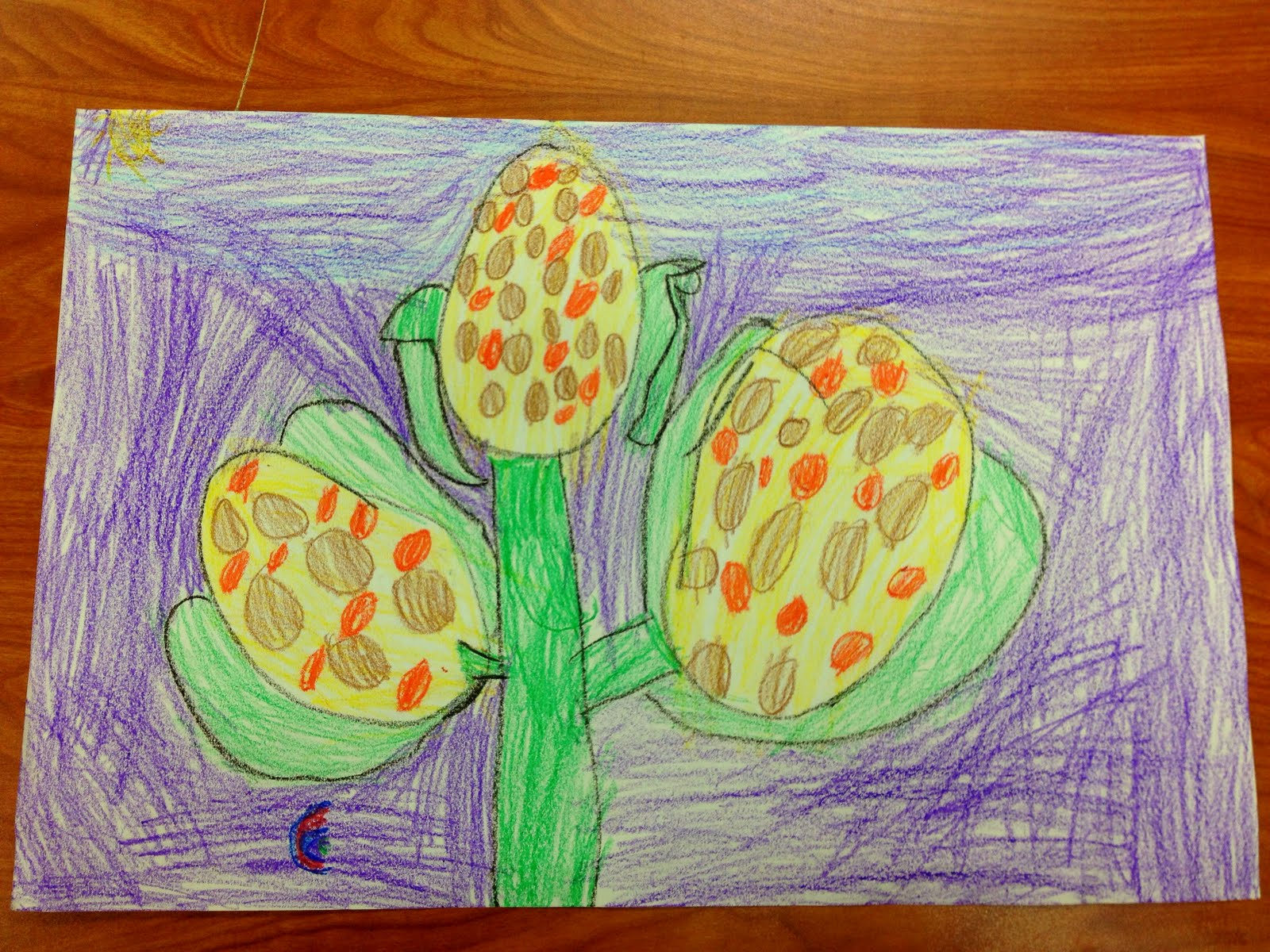 Sparkly Art With Ms Carney Harvest Corn Drawing