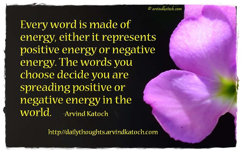 daily thought image with meaning every word is made of energy