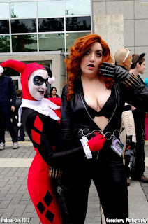 naughty red-head cleavage cat-suit