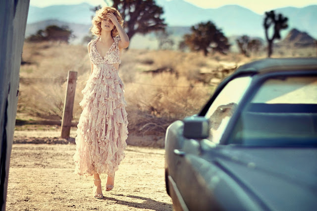 Far and Away dreamy editorial with Sasha Luss by Boo George for Vogue China May 2015